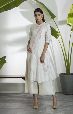 Ivory Printed Tunic Set In Chanderi - 2623
