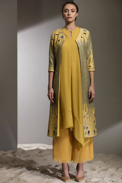 Yellow Printed Open Jacket With Inner Chanderi - 2629