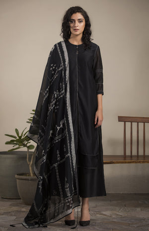 Black Churidar Kurta Dupatta in Chanderi- 2633