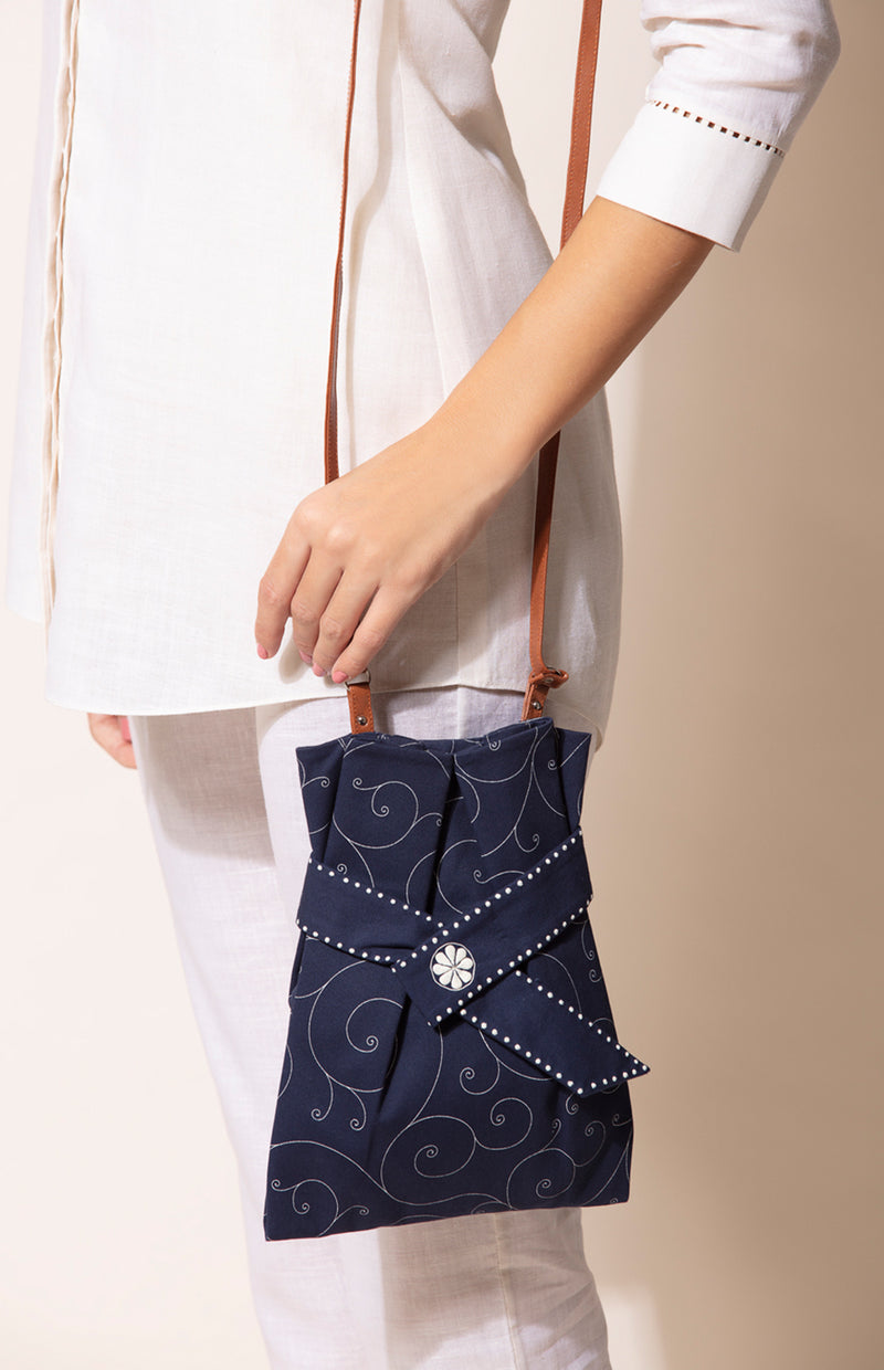 Snowflakes Potli in Navy