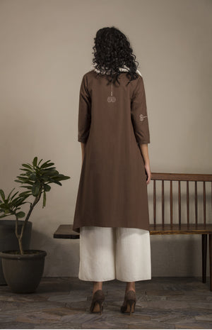 Brown Screen Printed Tunic Set with Scarf in Cotton- 2638