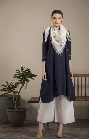 Navy Asymmetric Tunic Set in Cotton - 2638