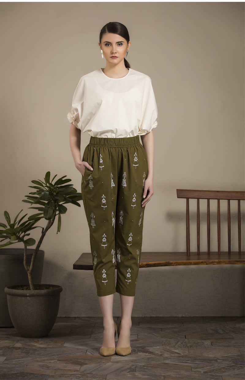 Olive Screen Printed Pant Cotton - 2640