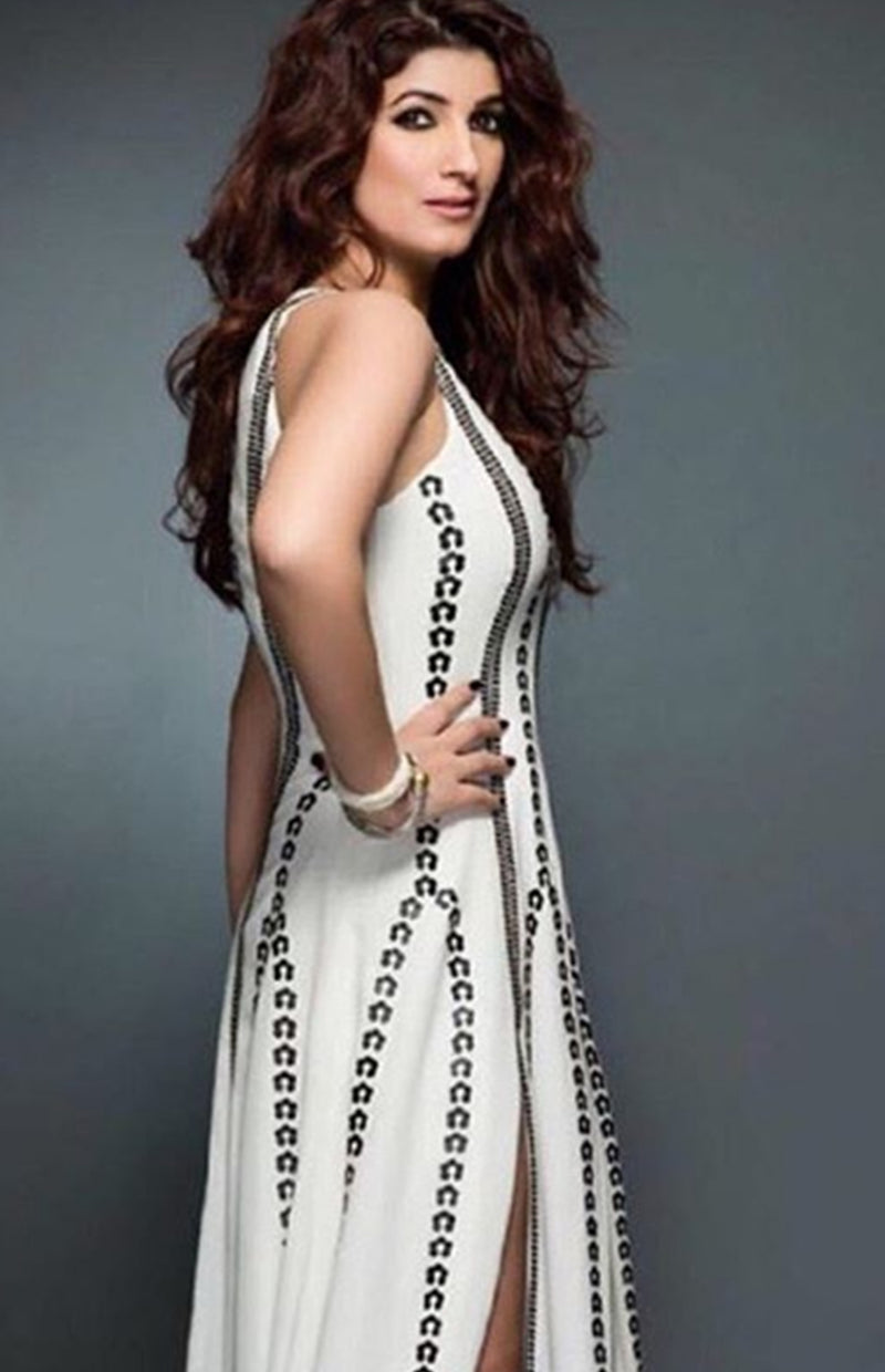 Twinkle Khanna Wearing an Ivory slit dress