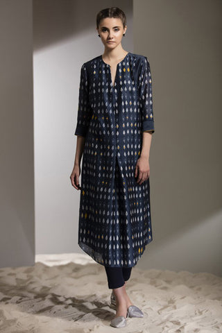 SHIBORI WORK TUNIC SET-2700-Navy