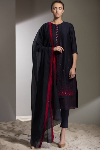 Navy Embroidered Dupatta Churidar Kurta in Chanderi - 2702