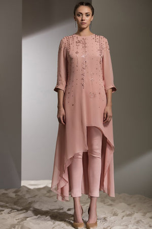 Laser Embroidered Tunic-2710-DUST ROSE