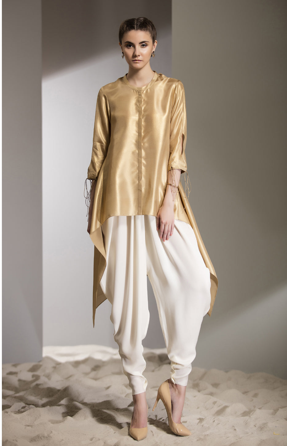 Gold Foil Shirt in Silk-2713