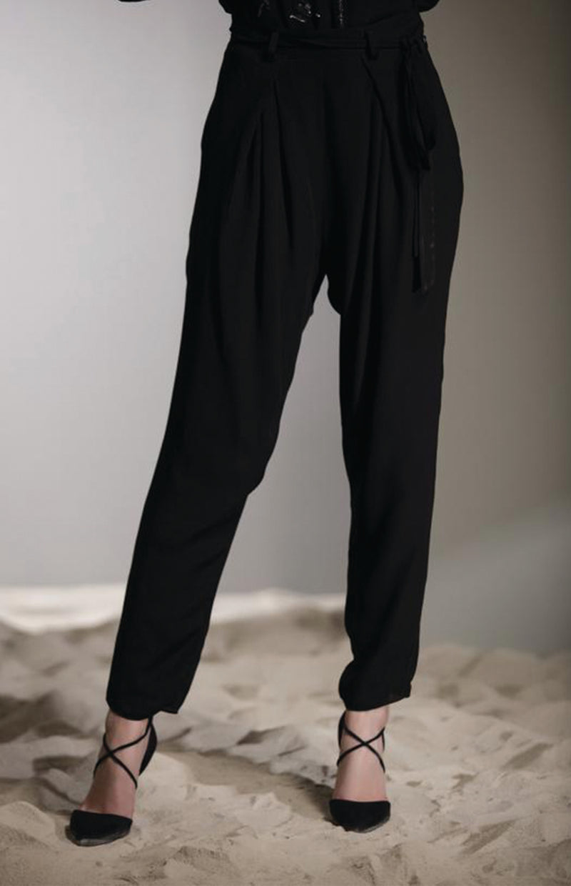 Black High Waist Pants in Viscose - 2720