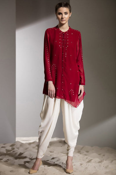 Red Laser Cut Embroidered Shirt in Georgette - 2724