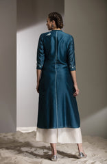 Teal Shibori Work Tunic in Chanderi - 2730