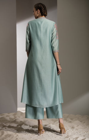Sea Green Jaal Floral Embroidered Anarkali Jacket in Chanderi - 2737