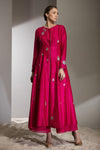Fuschia Gold Applique Work Anarkali Jacket In Silk -2738
