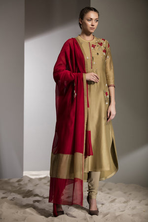 Leaf Green & Red Bead Work Dupatta Churidar Kurta In Silk -2747