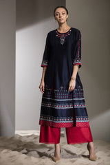 Navy Applique Work Tunic Set in Chanderi - 2748