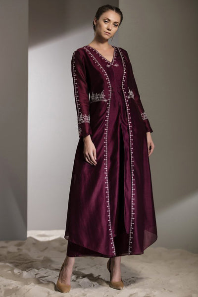 Burgundy Dori Work Anarkali Jacket-2758