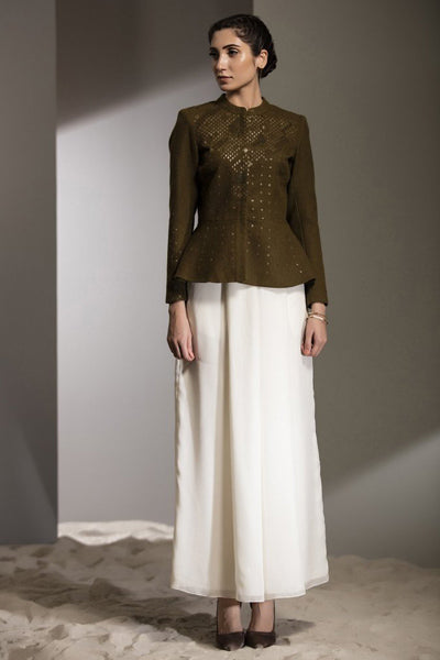 Olive Hand Embroidered Short Jacket in Wool - 2784