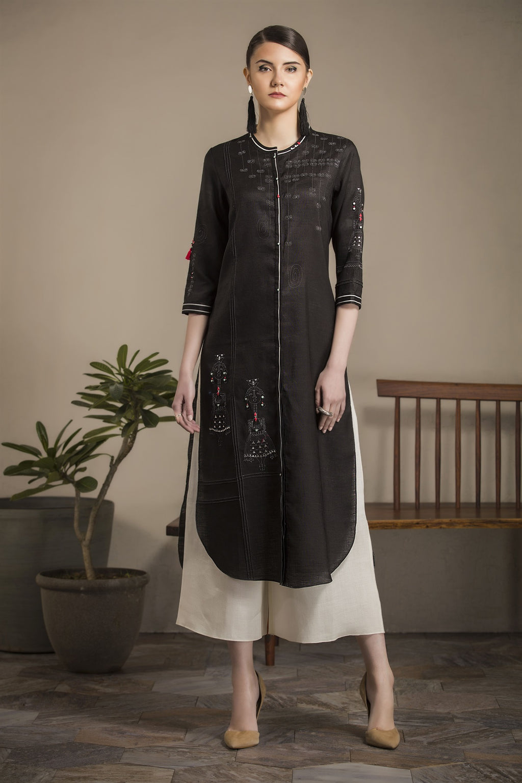 Black Tunic Set in Linen- 2787