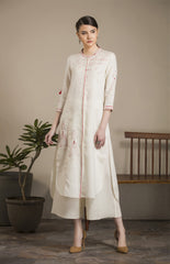 Ivory Embroidered Tunic Set in Linen - 2787