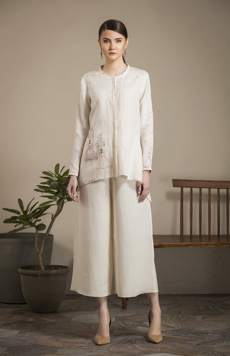 Ivory Embroidered Shirt in Linen - 2788