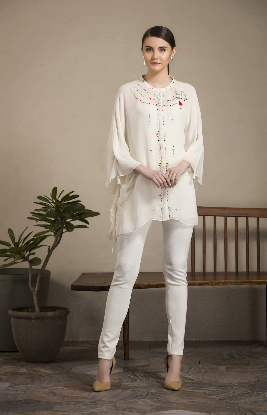 Ivory Embroidered Kaftan Shirt in Georgette