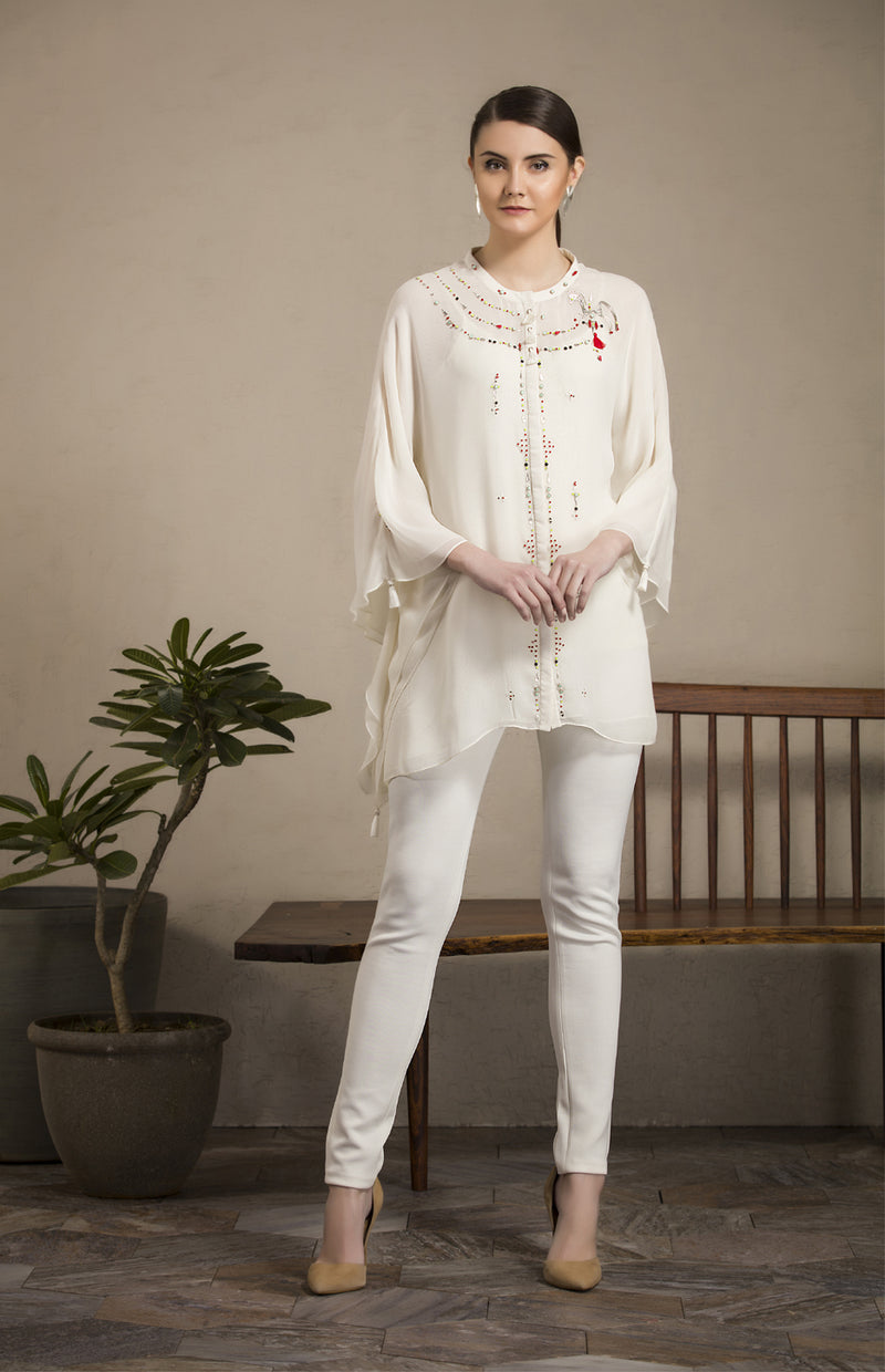 Ivory Embroidered Kaftan Shirt in Georgette - 2805