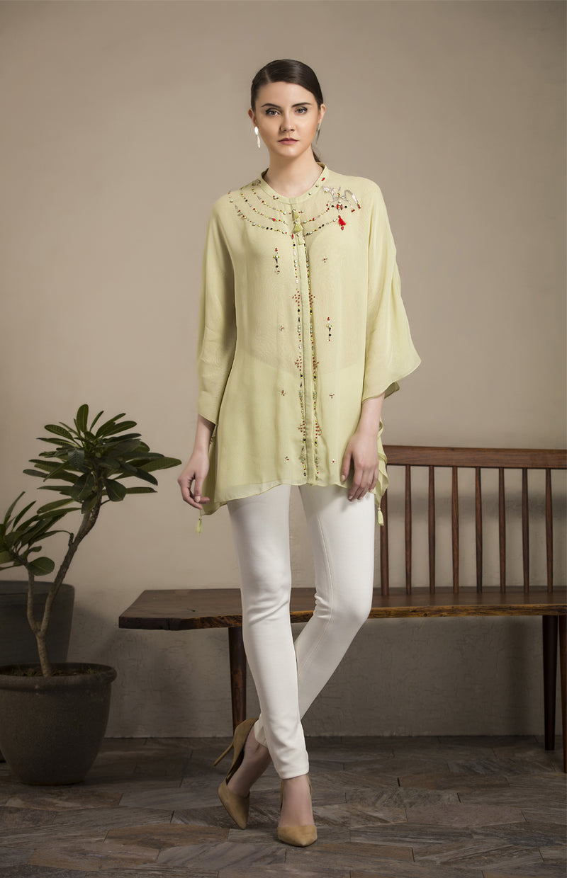 Mint Embroidered Shirt in Georgette - 2805