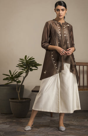 Brown Shibori Shirt in Chanderi- 2807
