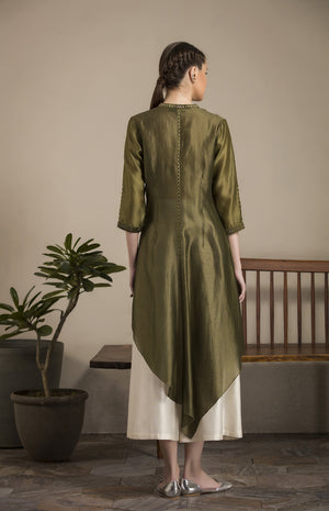 Olive Shibori Work Shirt in Chanderi - 2807