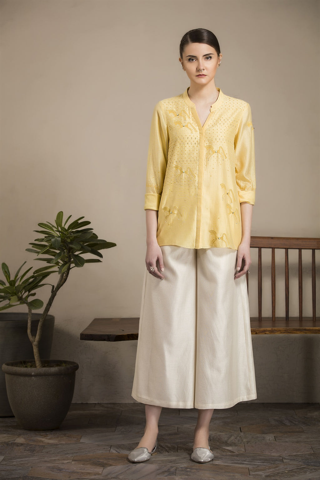 Yellow Embroidered Horse Patterns Shirt In Chanderi -2811