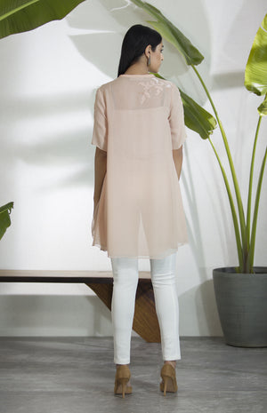 Couture Pink Embroidered Asymmetrical Shirt-2812