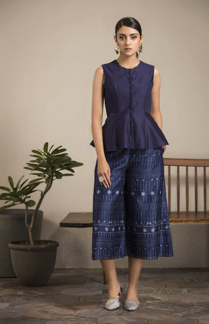 Navy Printed Olive Palazzo in Chanderi - 2815