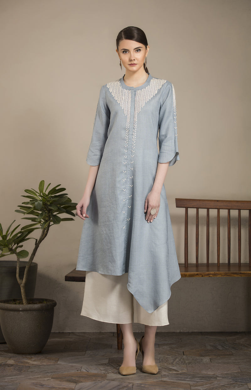 Greyish Blue Asymmetric Hem Tunic Set In Linen-2816