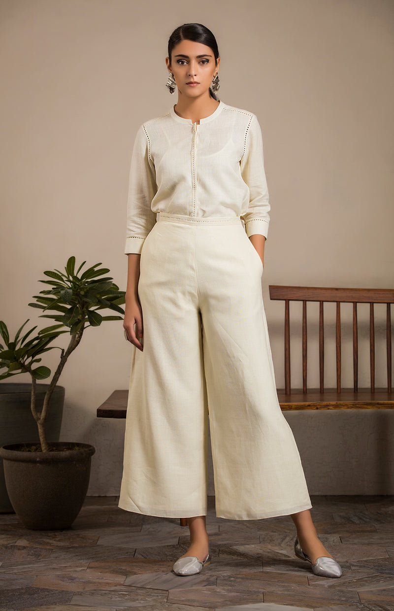 Ivory  Palazzos in Linen - 2818