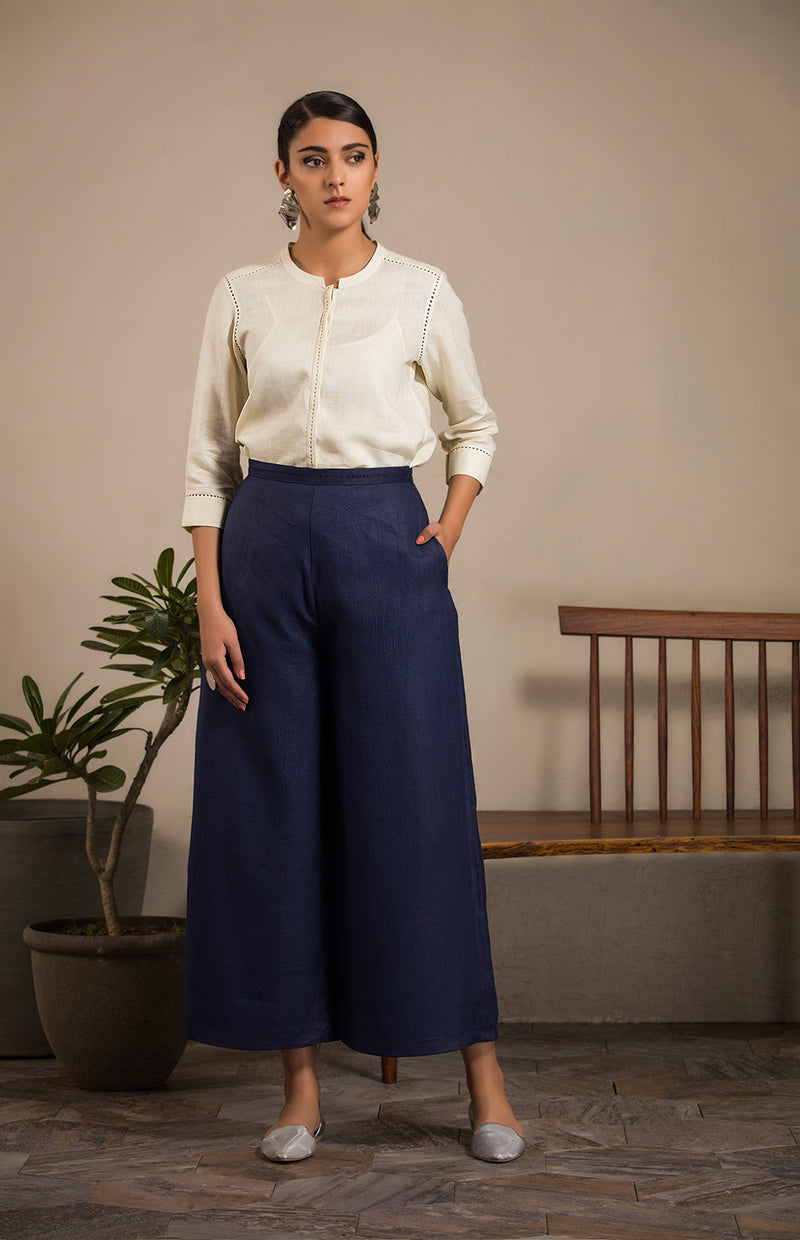 Navy Palazzos in Linen - 2818