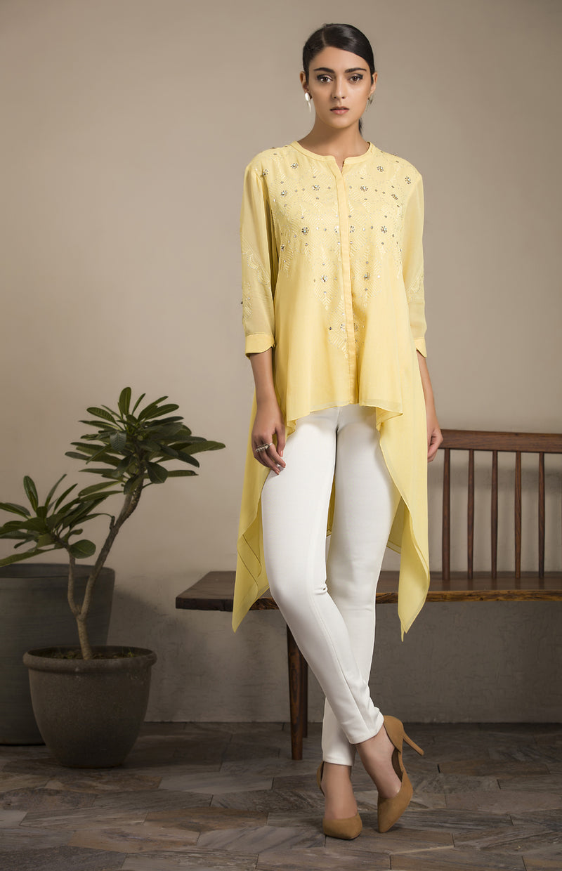 Yellow Embroidered Asymmetrical Hem Shirt-2826