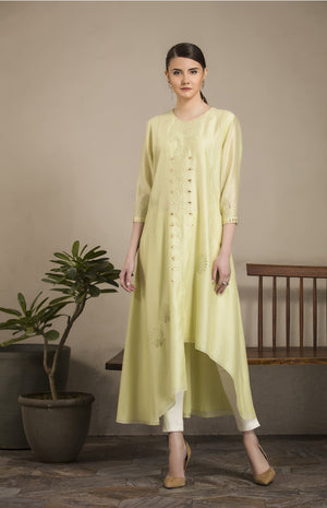 Mint Asymmetric Tunic in Chanderi, Cotton Satin Lycra - 2829