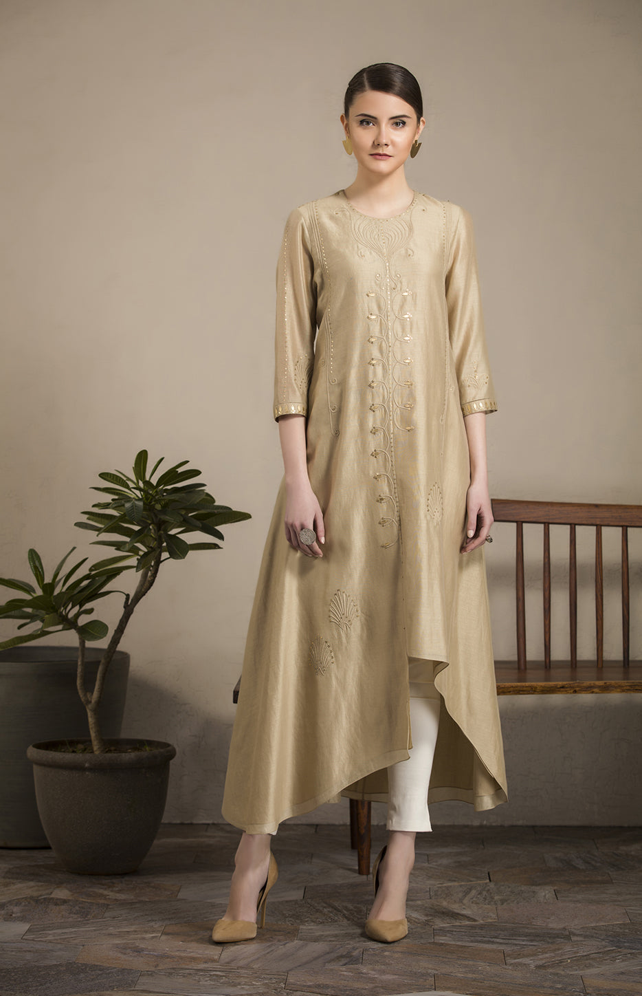 Burly Wood Moss Tunic in Chanderi, Cotton Satin Lycra - 2829