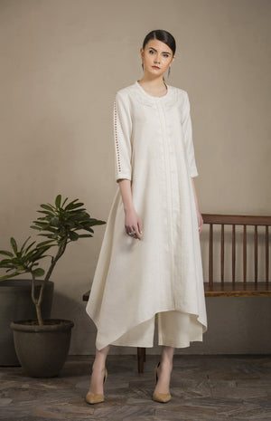 Ivory Embroidered Tunic Set in Linen - 2840