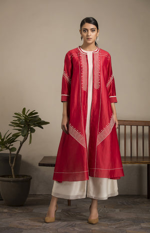 Red Tunic Set in Chanderi - 2881