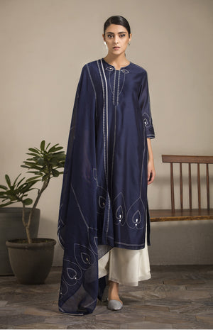 Navy Embroidered Tunic Set in Chanderi - 2893