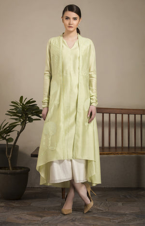 Mint Anarkali Styled Jacket in Chanderi - 2900