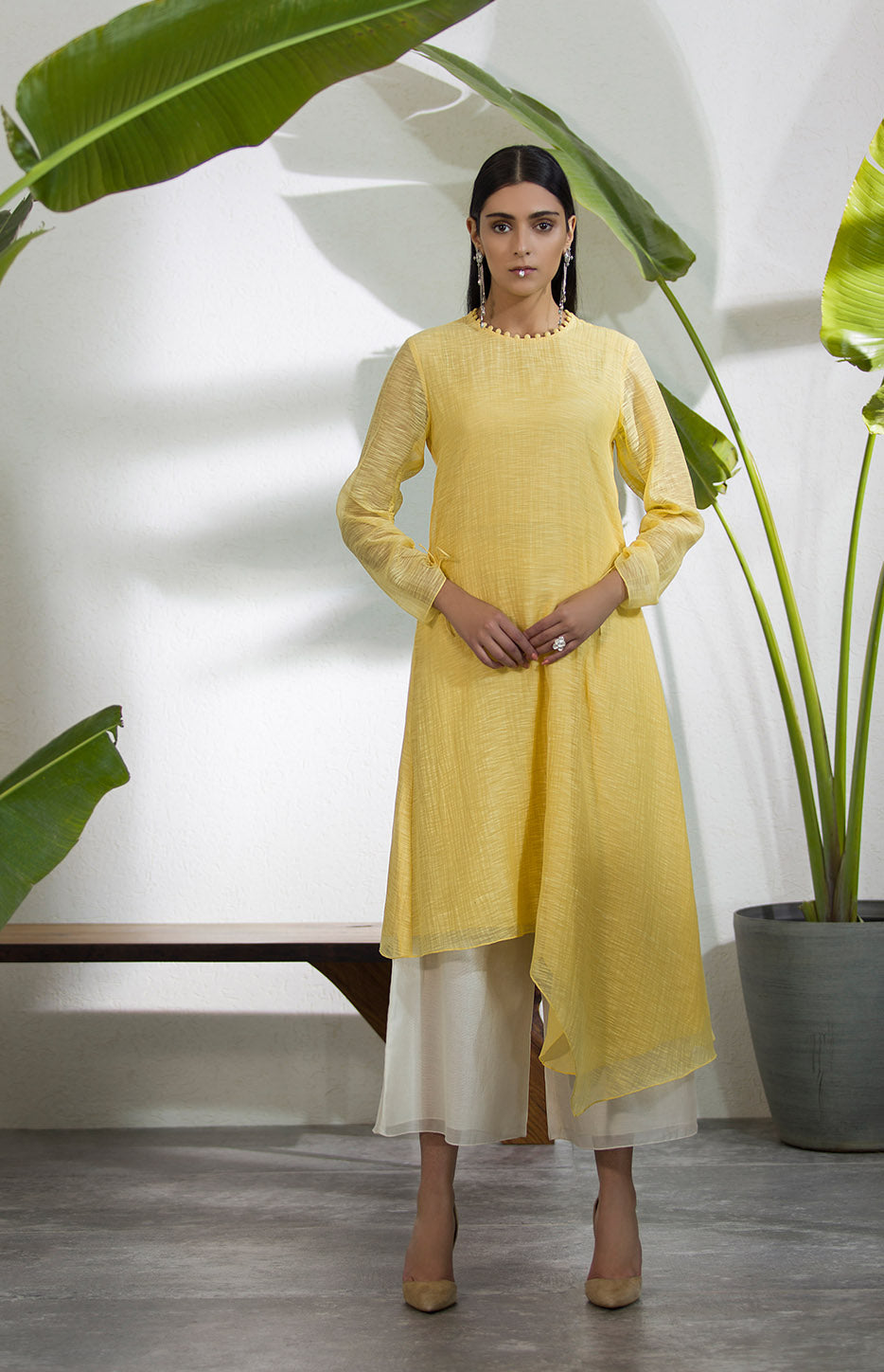 Yellow Self Embossed Pattern Tunic in Slubchanderi -2901