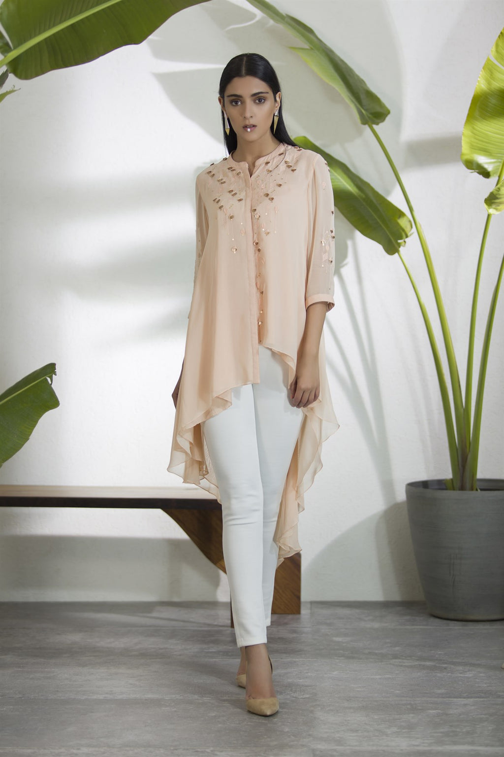 Couture Pink Embroidered Asymmetrical Shirt-2904