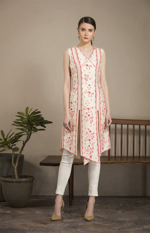 IVORY & RED Tunic Set-2931