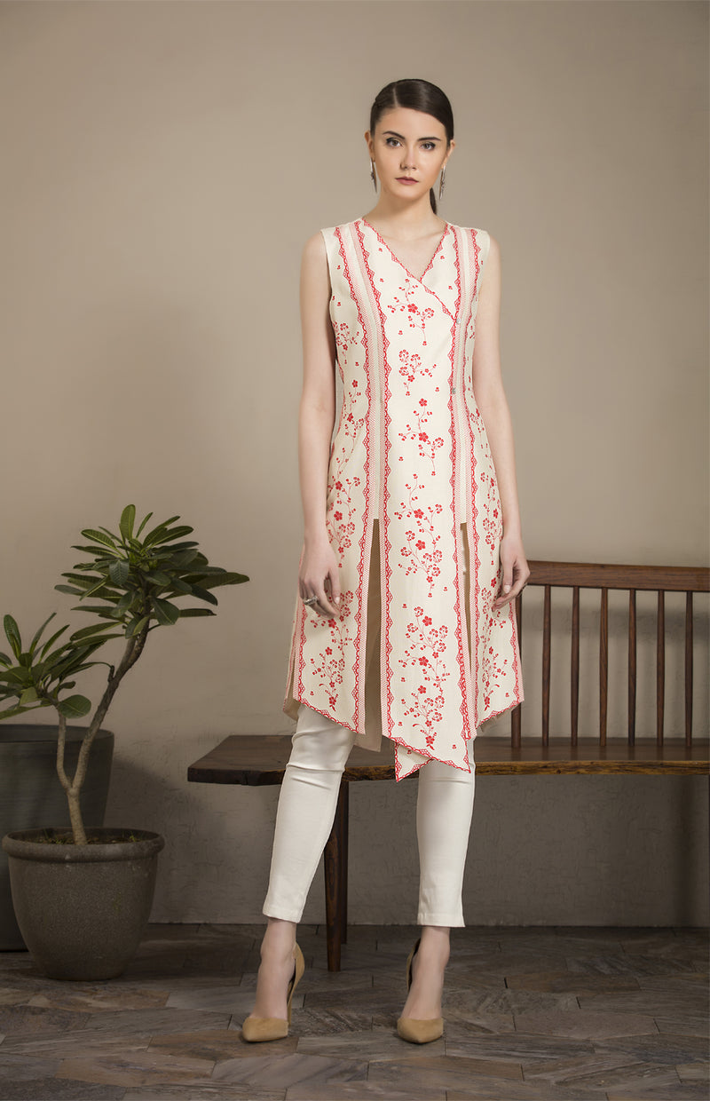 Subtle Ivory and Red Tunic Set in Chanderi