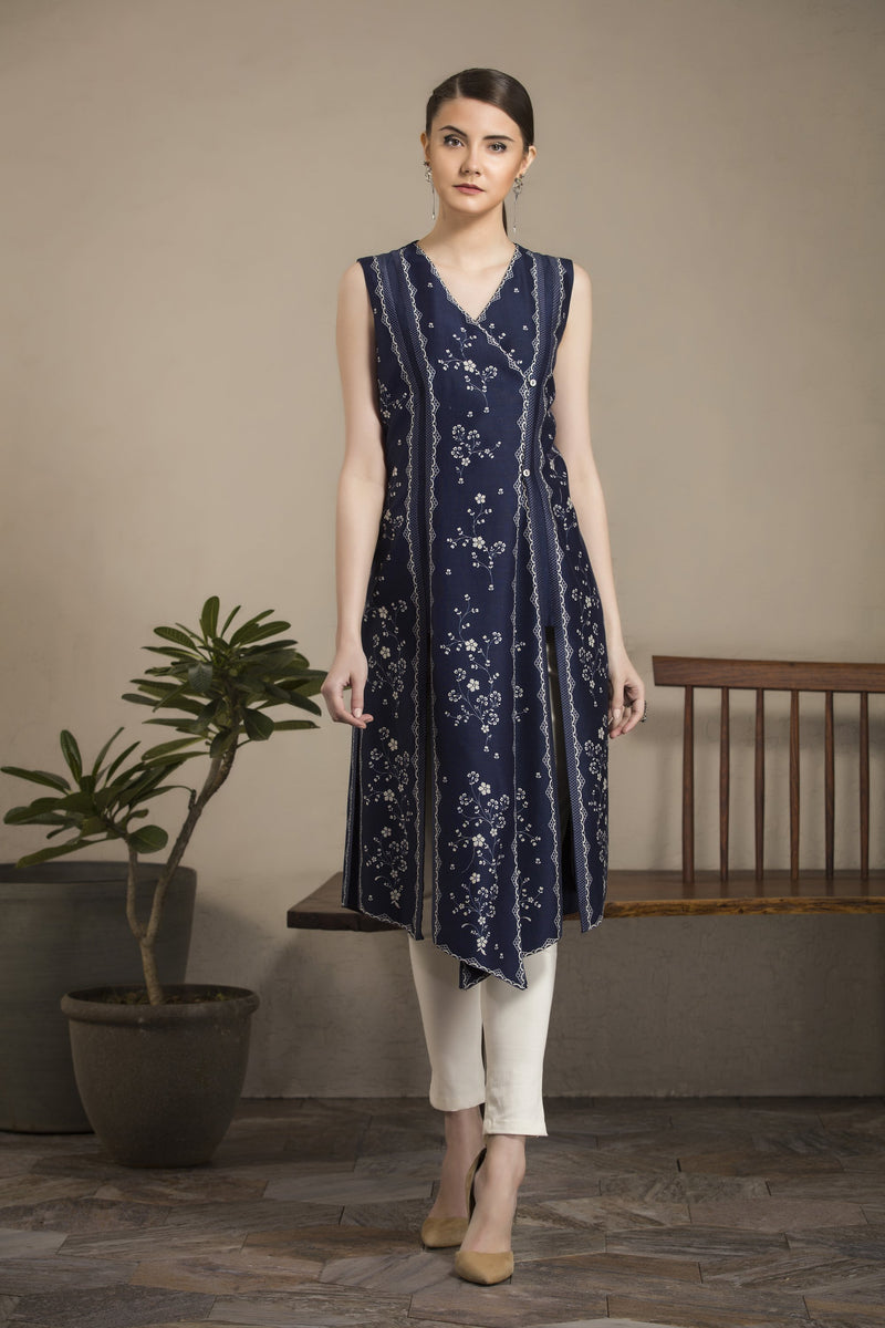 Navy-Ivory Asymmetric Tunic Set in Chanderi - 2931