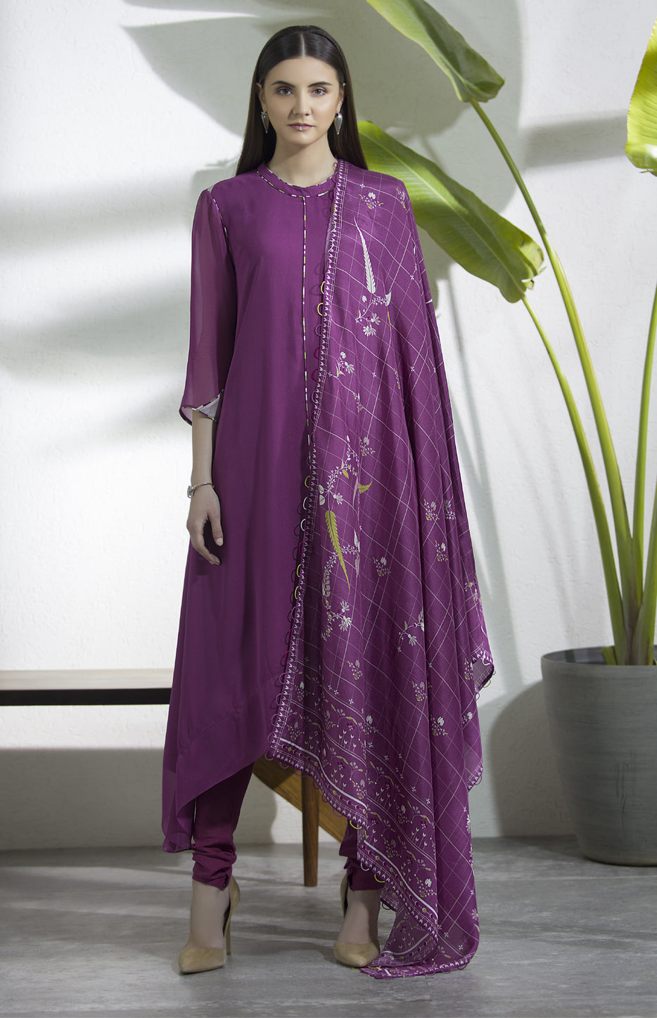 Falsa Anarkali With Patterned Dupatta in Georgette and Habotai Silk -2942