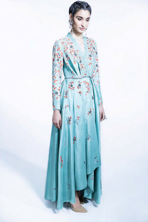 Sea Green Embellished Wrap Dress And Dhoti Pants Set - 2319