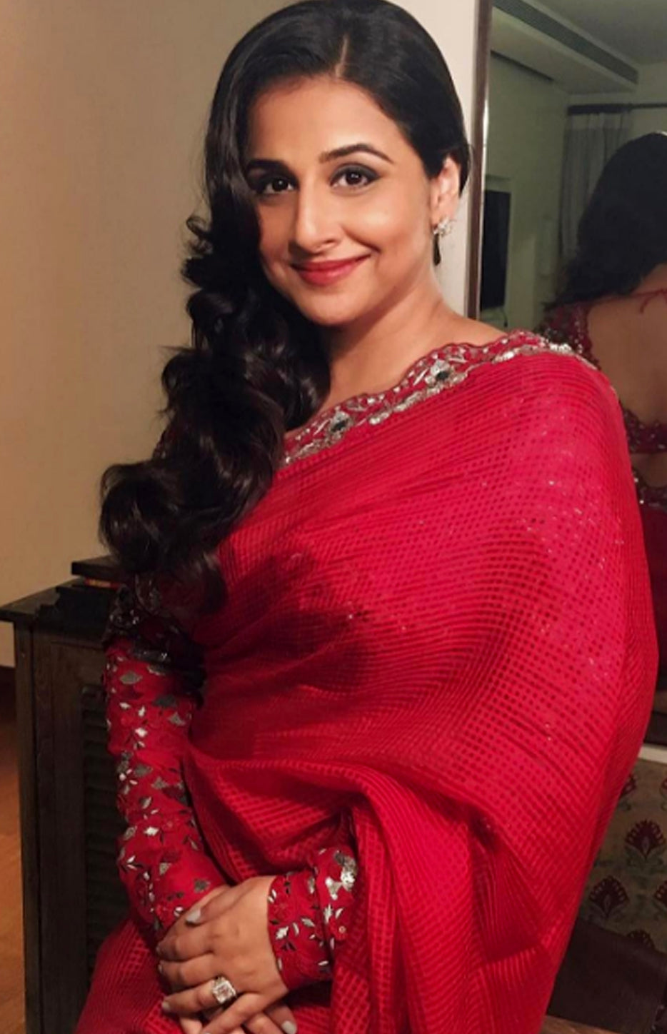 Vidya Balan Wearing Red Couture Saree